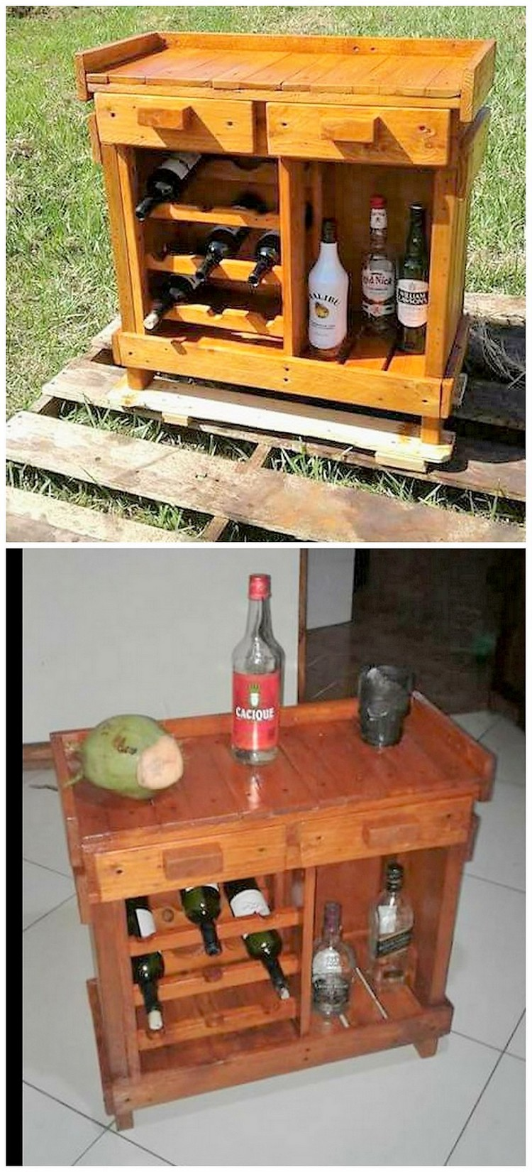 Pallet Wine Rack Table with Drawers