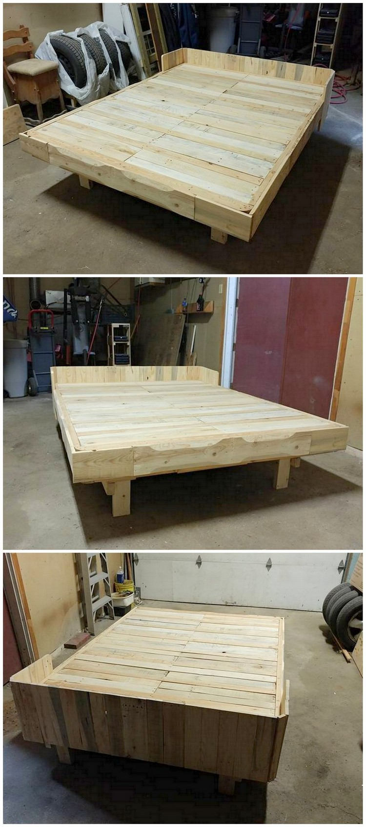 Genius ideas for reusing old wooden pallets pallet wood for Recycled pallet bed frame
