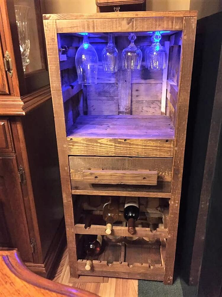 Recycled Pallet Wine Rack with Glass Holders