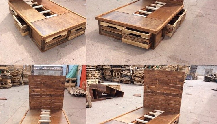 Unique Wood Pallet Bed with Drawers