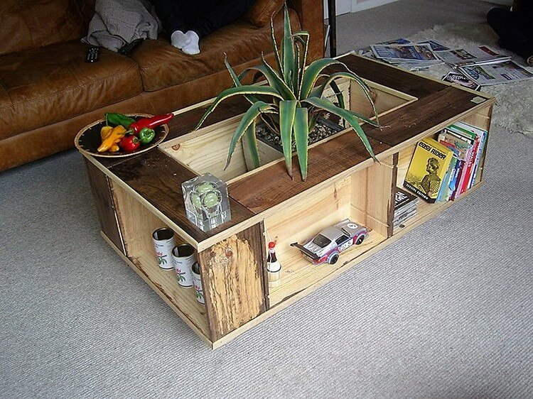 Unique Wood Pallet Table with Toys and Books Storage