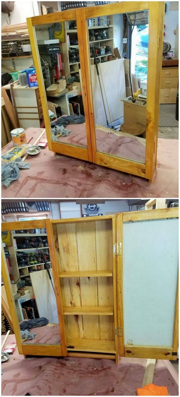 Wood Pallet Cabinet with Vanity Mirror