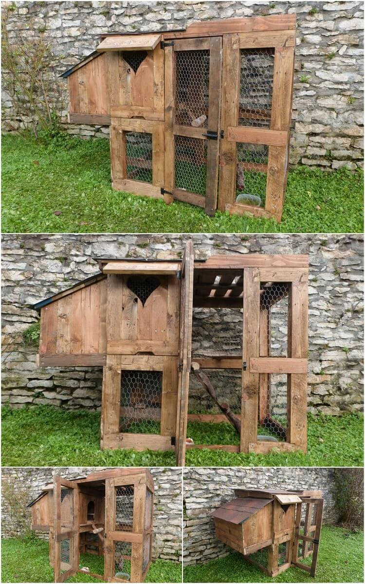 Best and easy ideas for wood pallet repurposing pallet Chicken coop from pallet wood