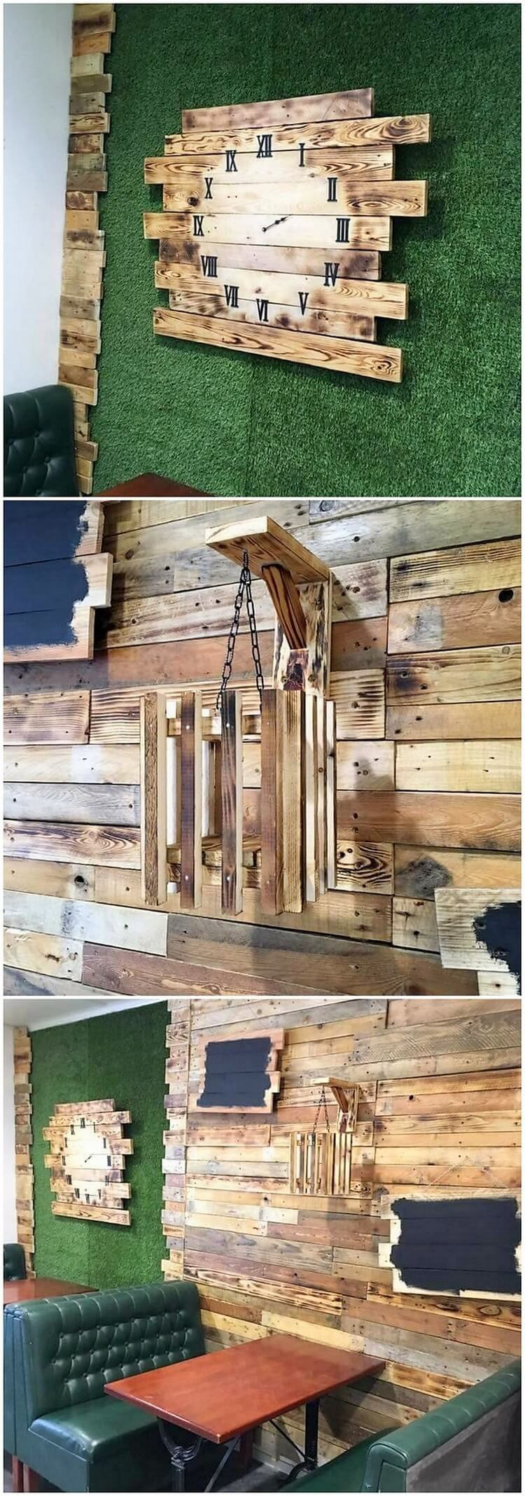 Wood Pallet Clock and Wall Paneling (2)