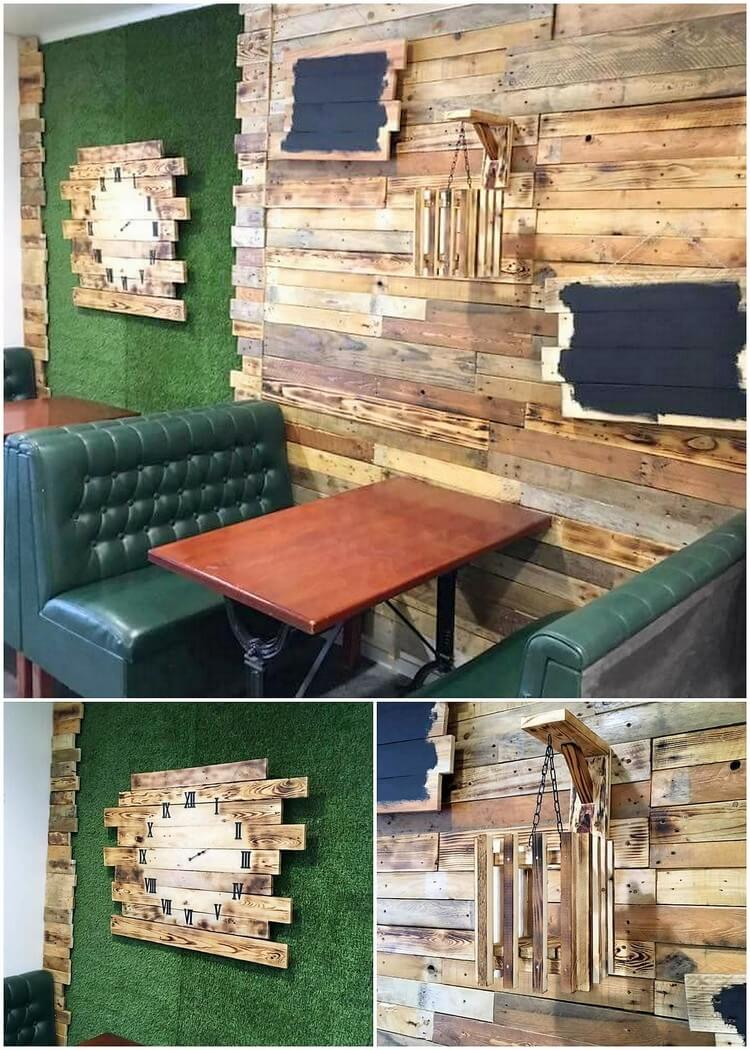 Wood Pallet Clock and Wall Paneling