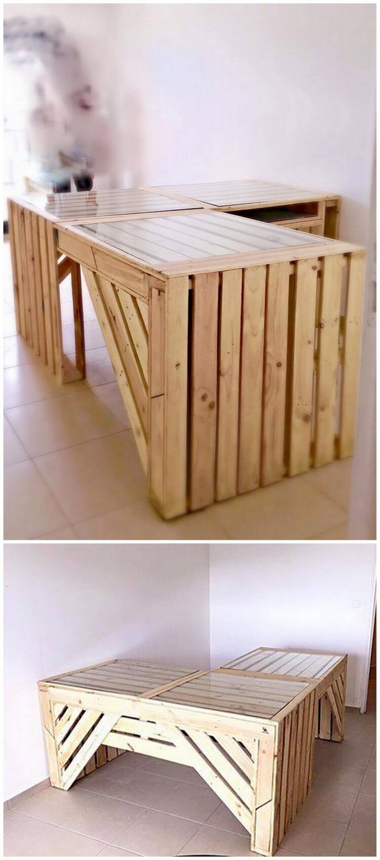 Wood Pallet Counter Table with Glass Top