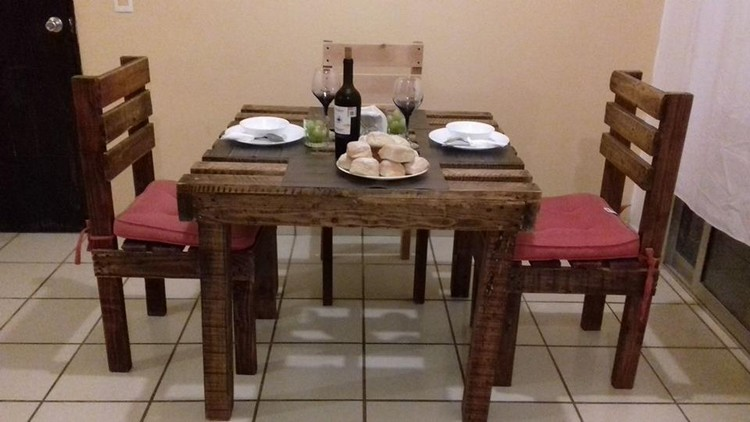 Wood Pallet Dining Table and Chairs