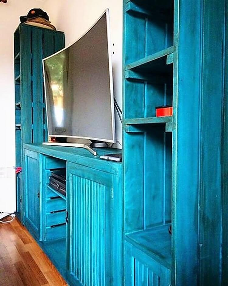 Wood Pallet Media Center and Cupboard