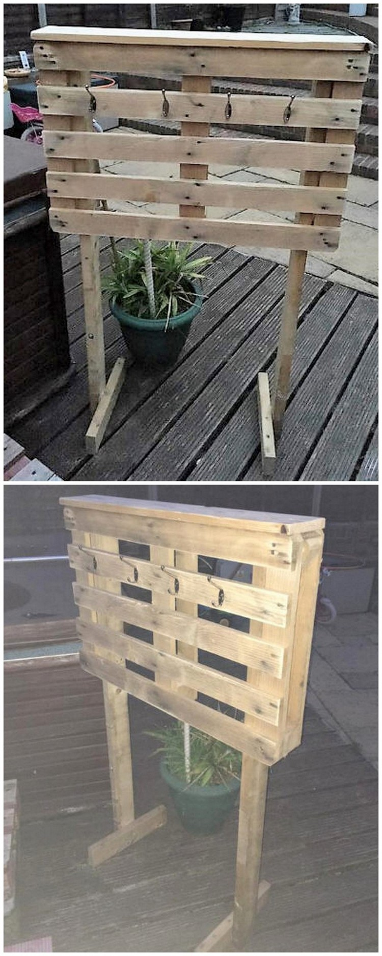 Wood Pallet Quick Towel Stand for Hot Tub