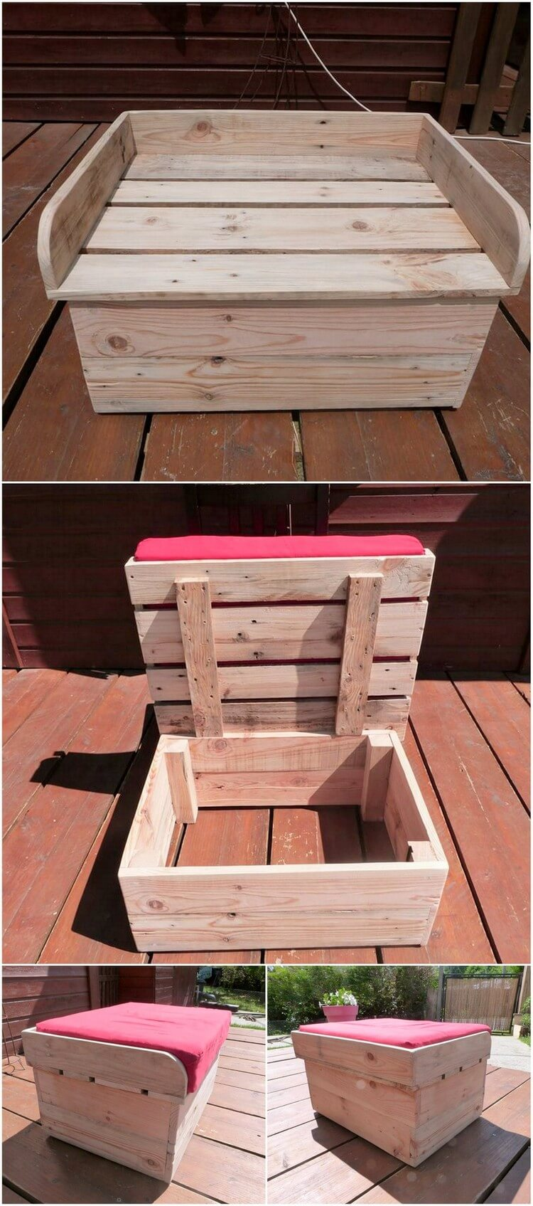 Wood Pallet Seat with Storage Box