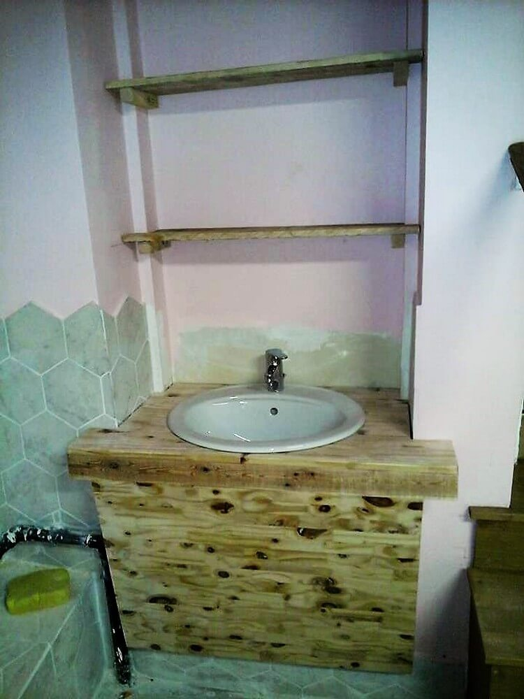 Wooden Pallet Sink and Shelves