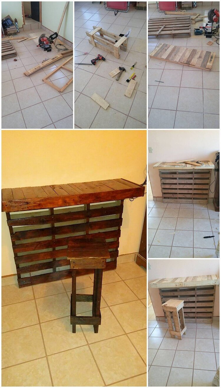 DIY Pallet Desk Table and Stool