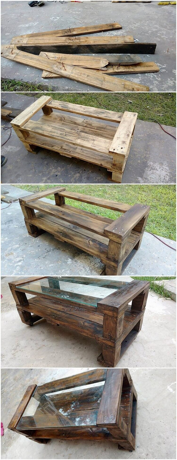 DIY Pallet Table with Glass Top
