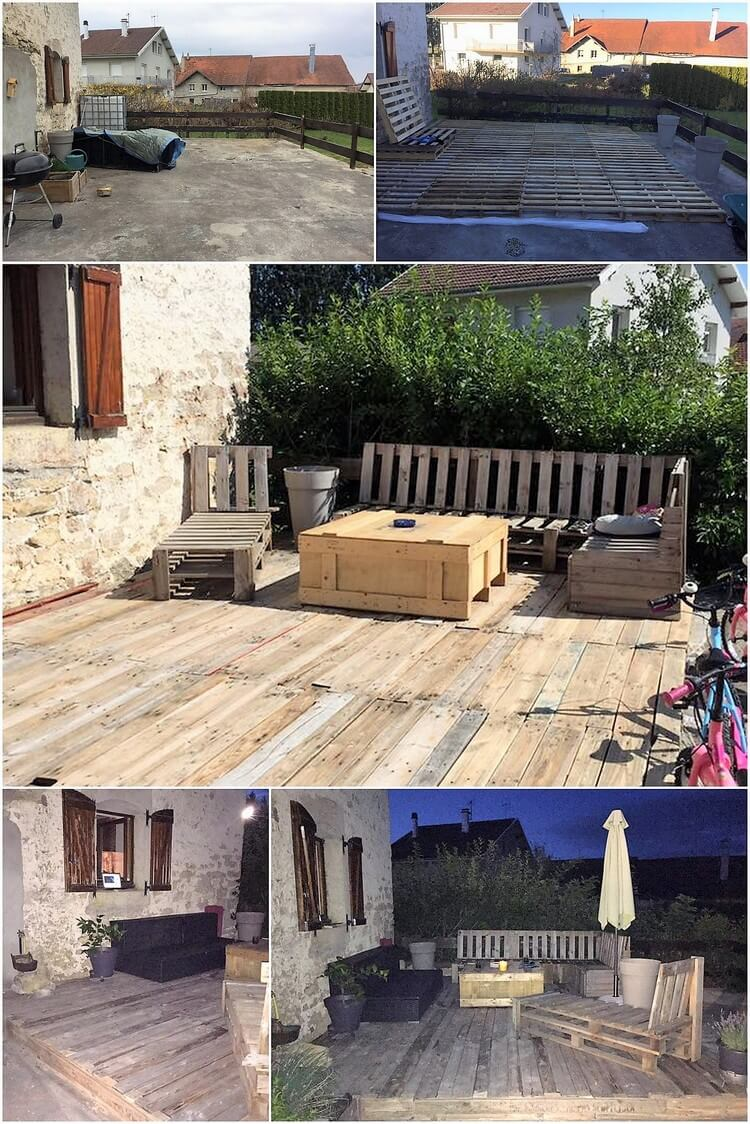 DIY Pallet Terrace with Furniture