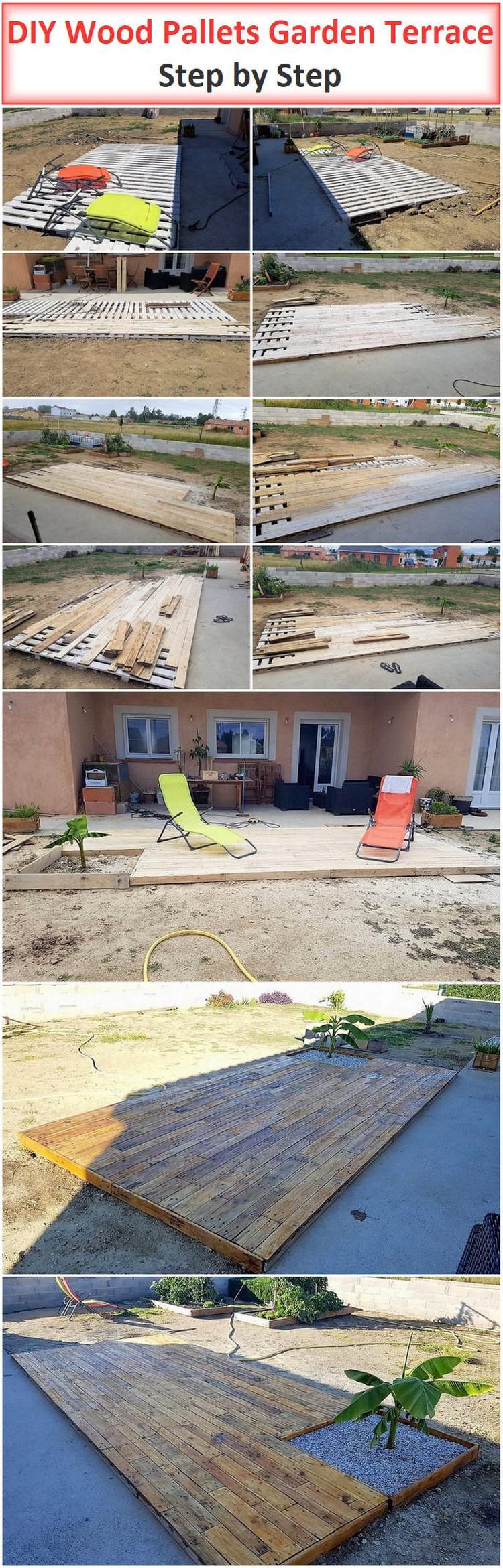DIY Wood Pallets Garden Terrace Step by Step