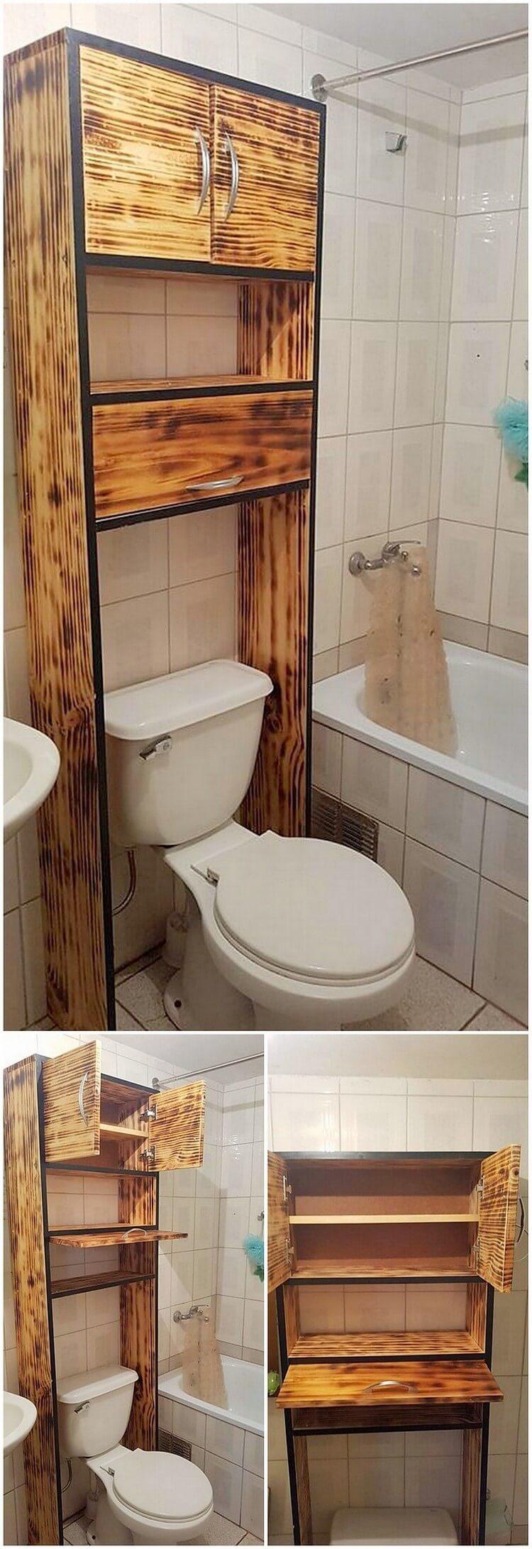 Pallet Bathroom Cabinet with Storage Shelf (2)