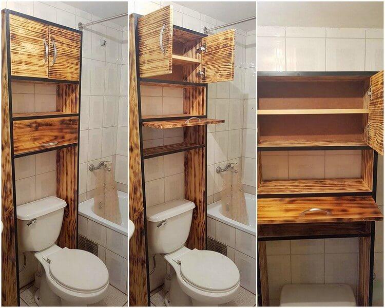 Pallet Bathroom Cabinet with Storage Shelf