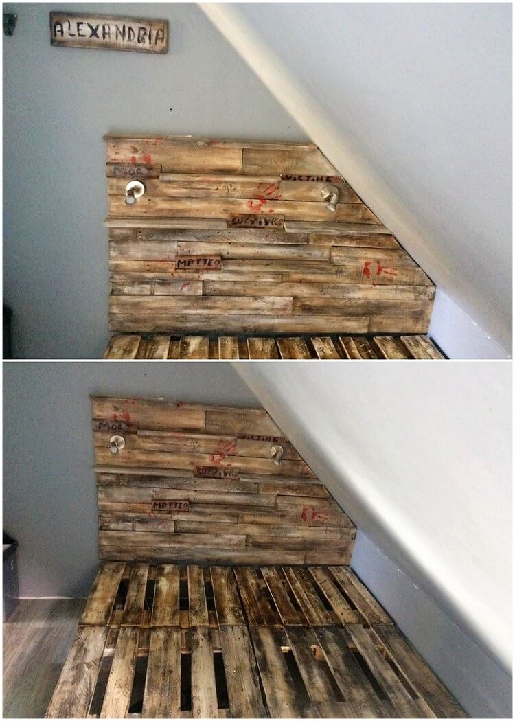 Pallet Bed Frame with Unique Headboard