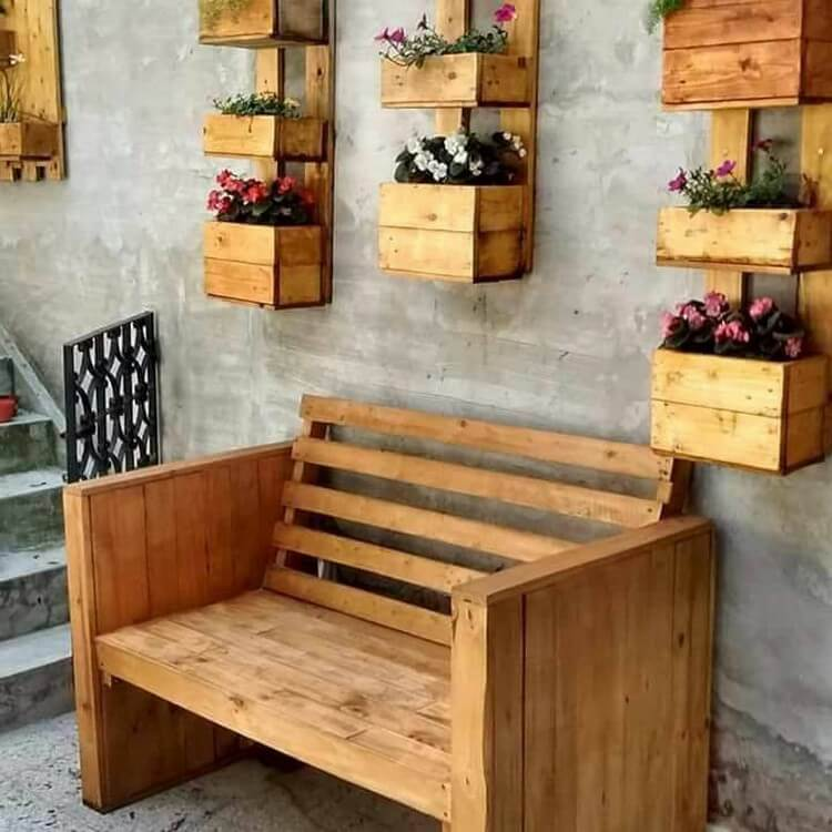 Pallet Bench and Wall Planters