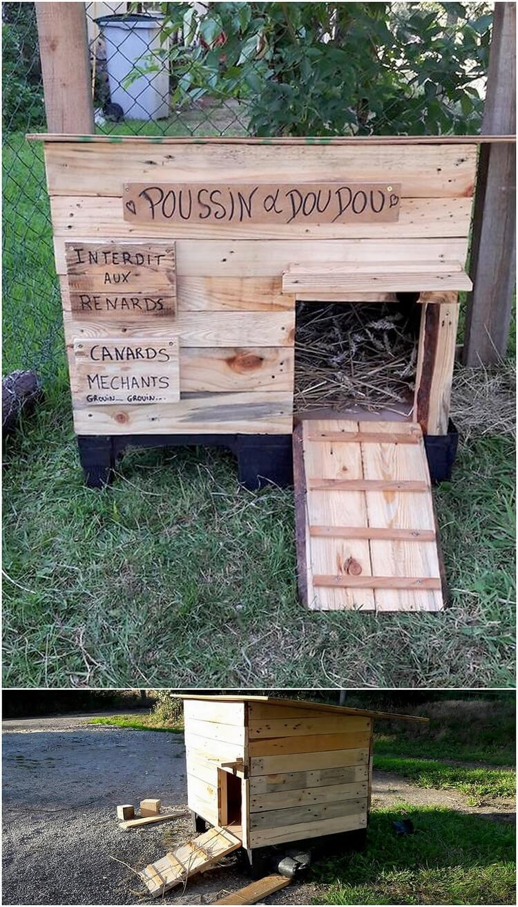 Unique diy wooden pallet projects to freshen up your house for Pallet chicken coup