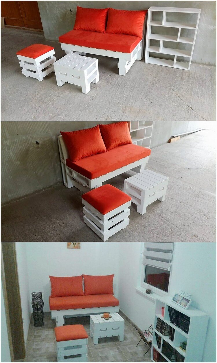 Pallet Couch, Shelving Unit and Stools