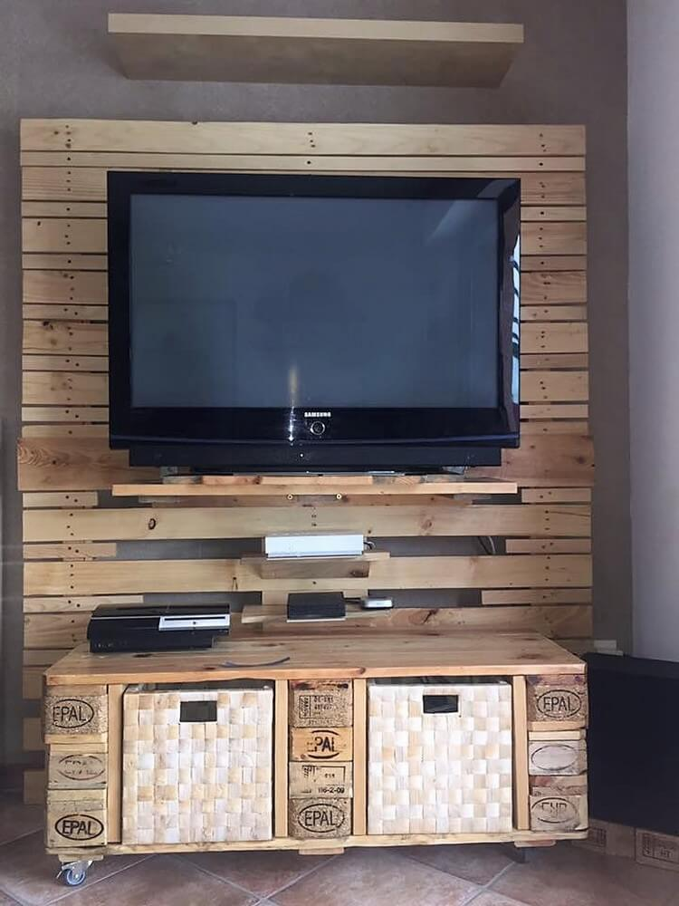 Diy pallet entertainment center step by step plan pallet wood projects Design plans for entertainment center