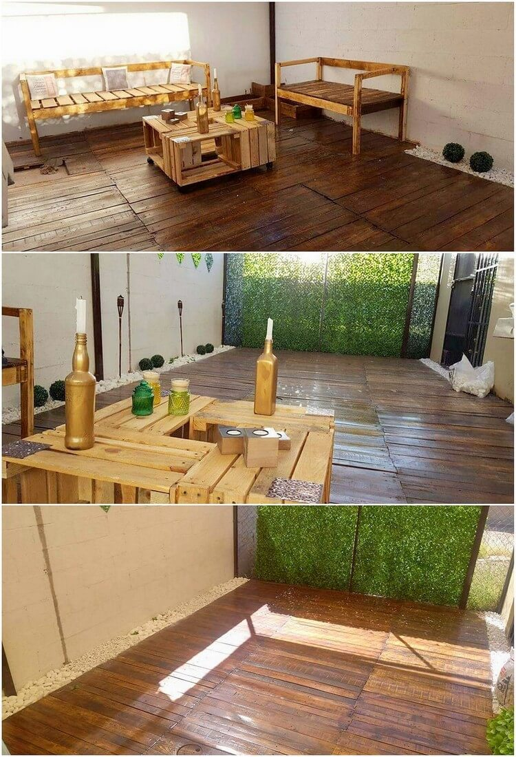 Pallet Furniture Set and Floor