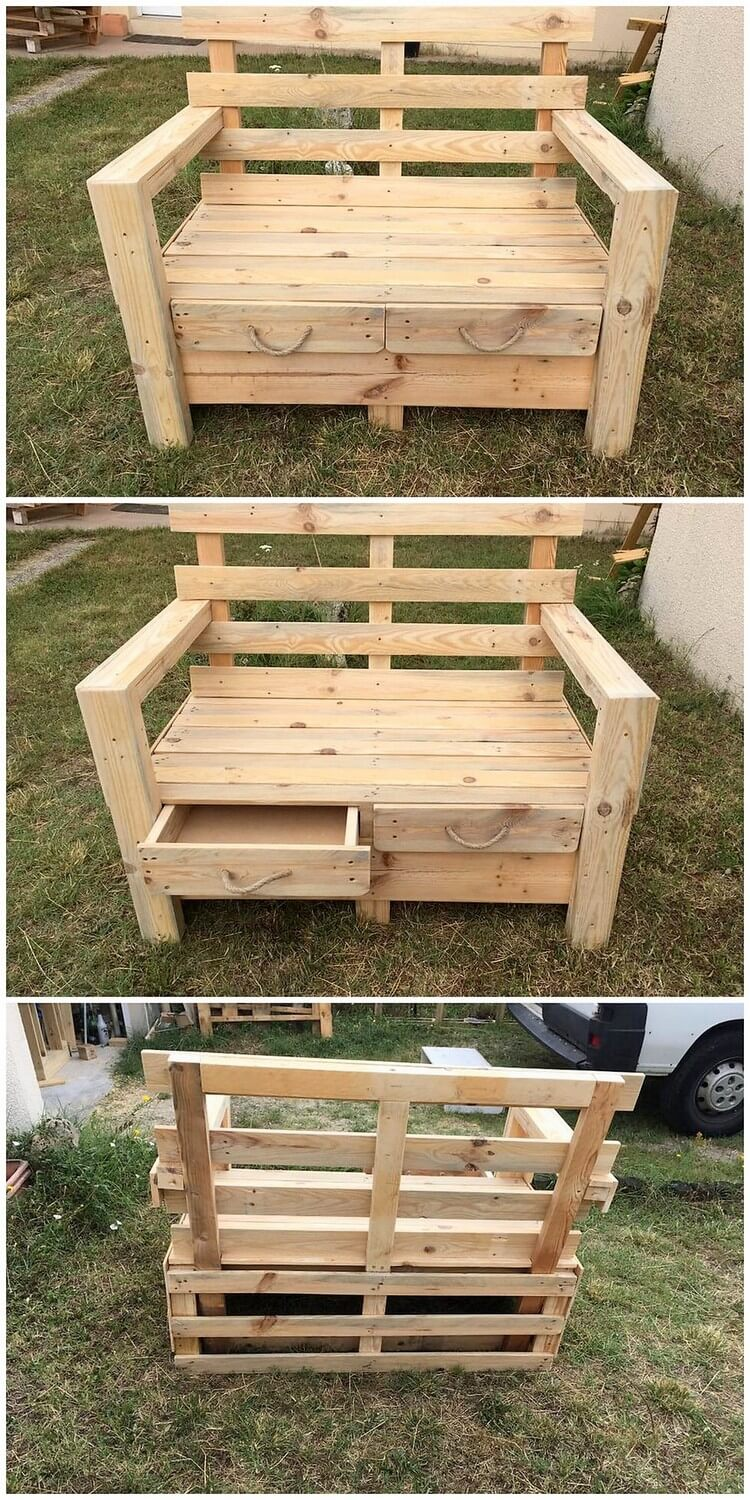 Pallet Garden Bench with Drawers