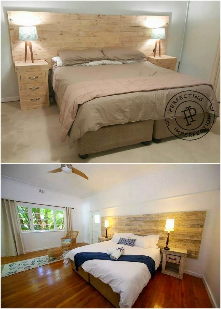 Pallet Headboard with Side Tables
