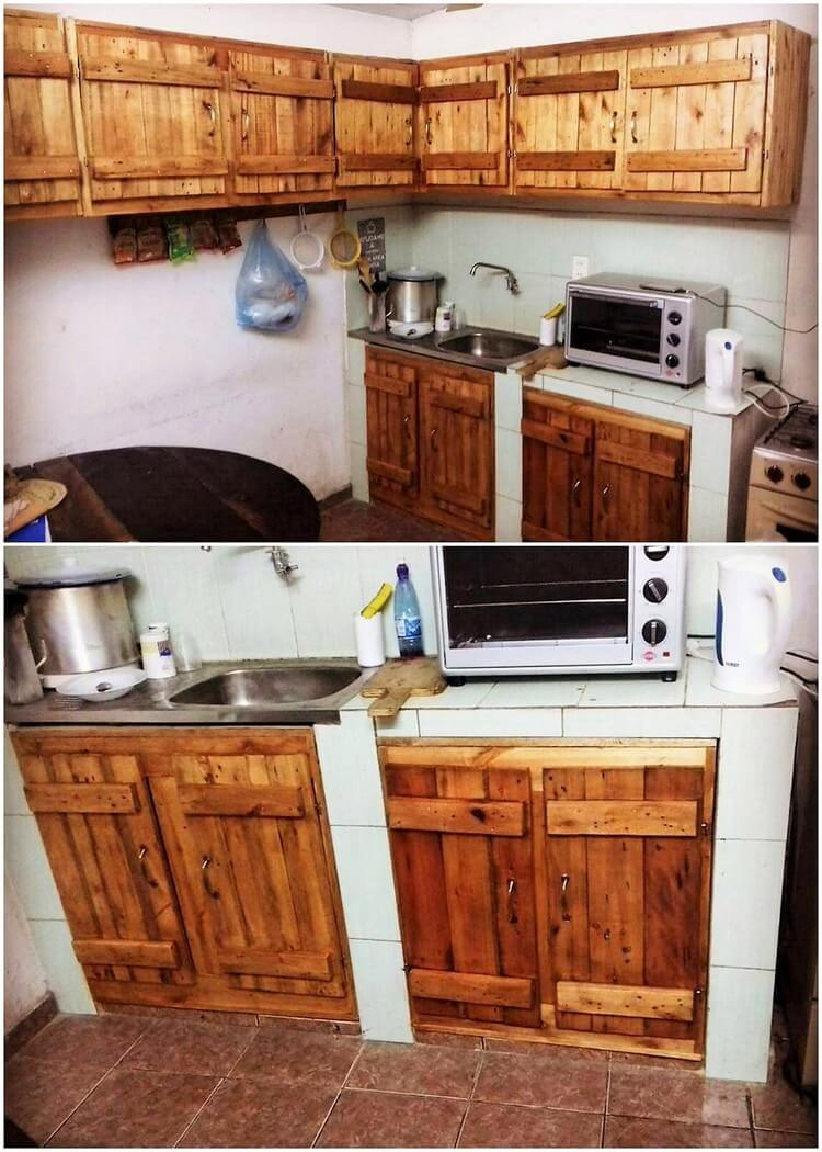 Exciting ways to make useful things with old wooden for Kitchen units made from pallets