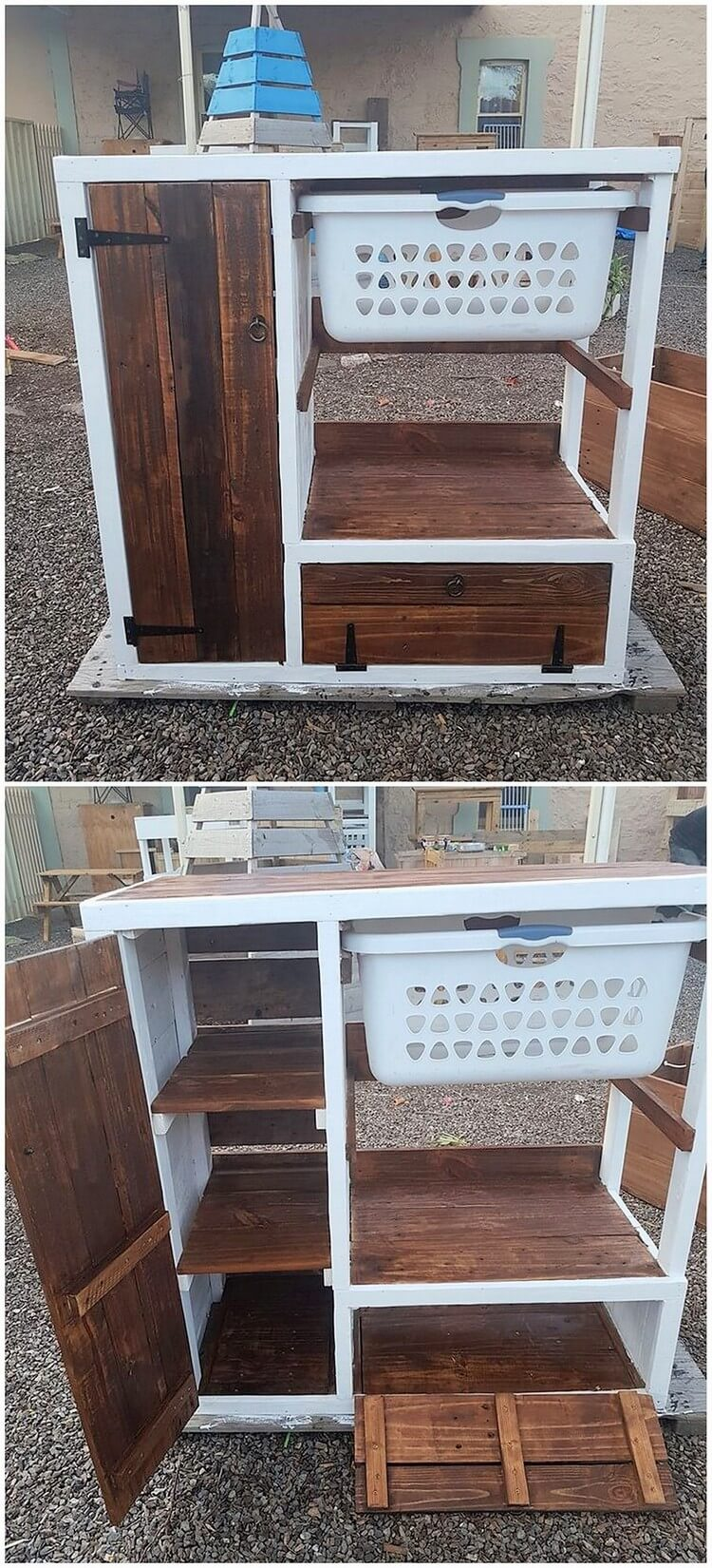 Pallet Laundry Table with Cabinet and Basket