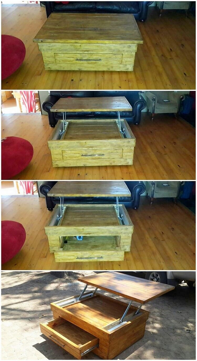 Pallet Lift Up Coffee Table with Drawer