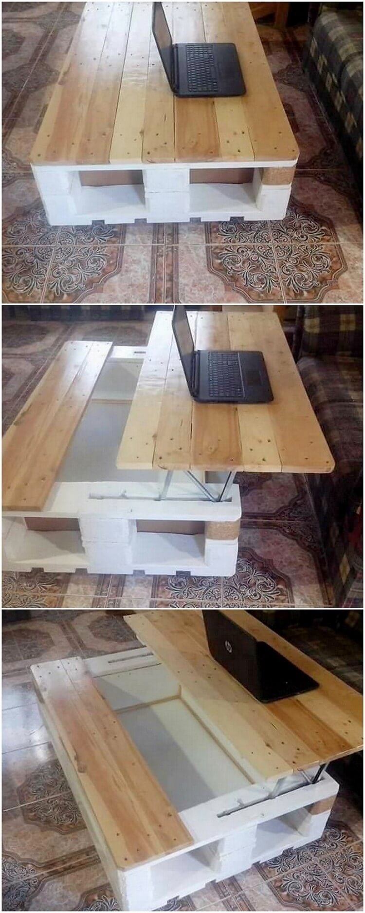 Pallet Lift Up Top Laptop Table