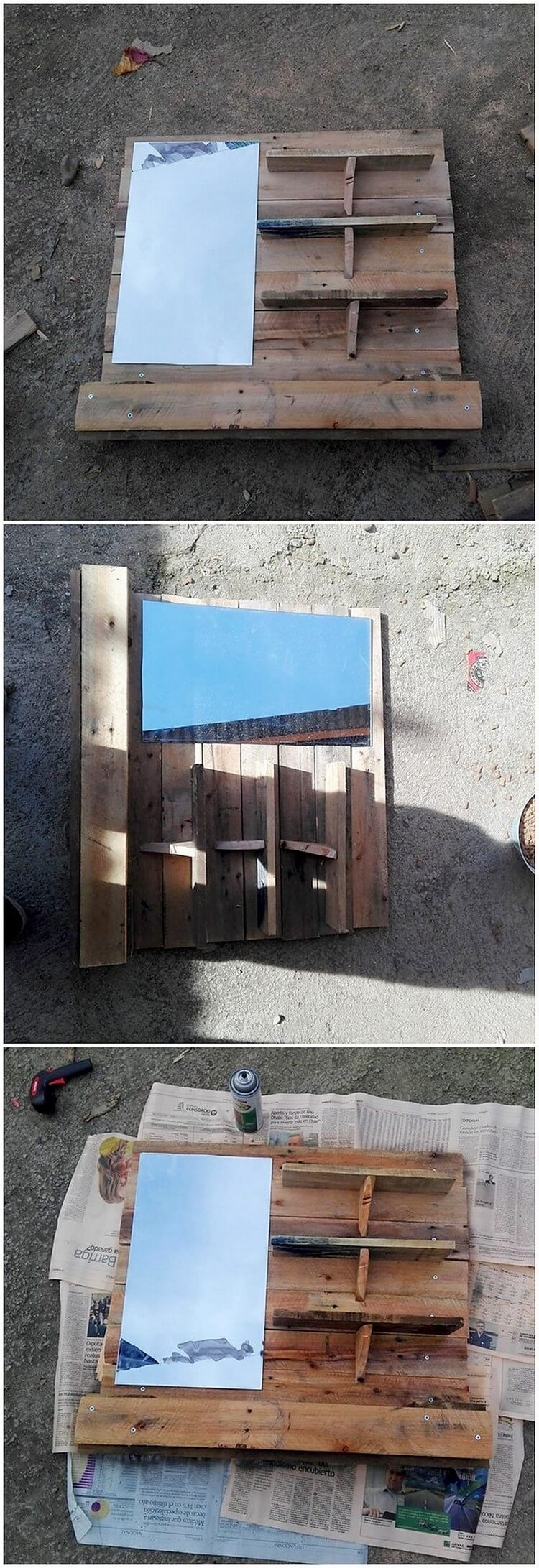 Pallet Mirror Frame with Shelves