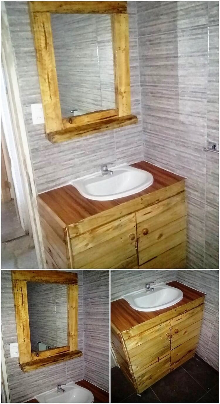 Pallet Mirror and Sink