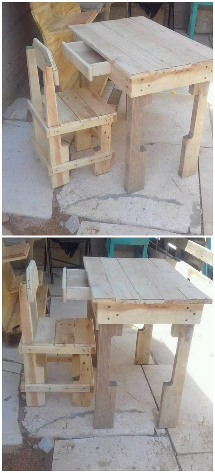 Pallet Office or Study Table and Chair
