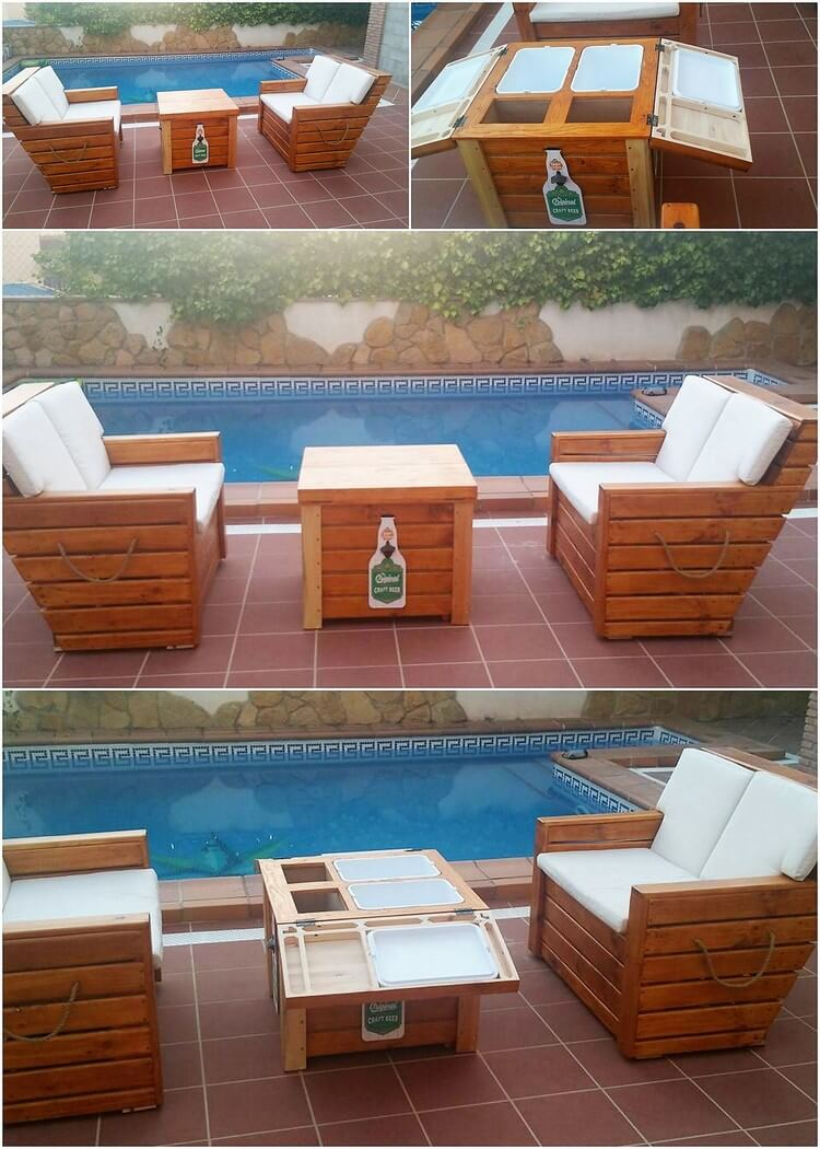 Pallet Outdoor Couches and Cooler Table