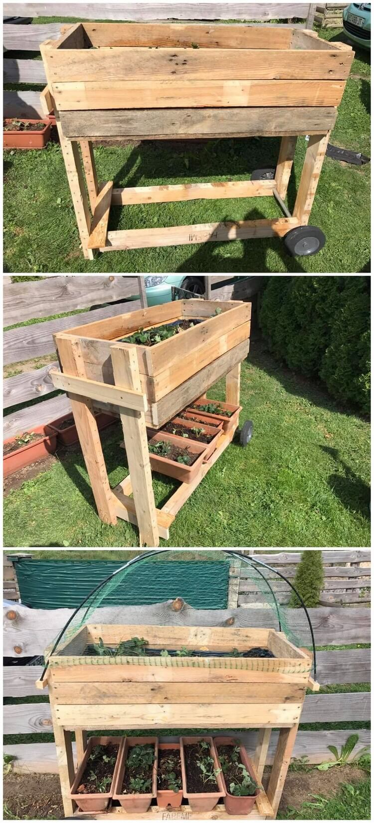 Pallet Rolling Planter Table