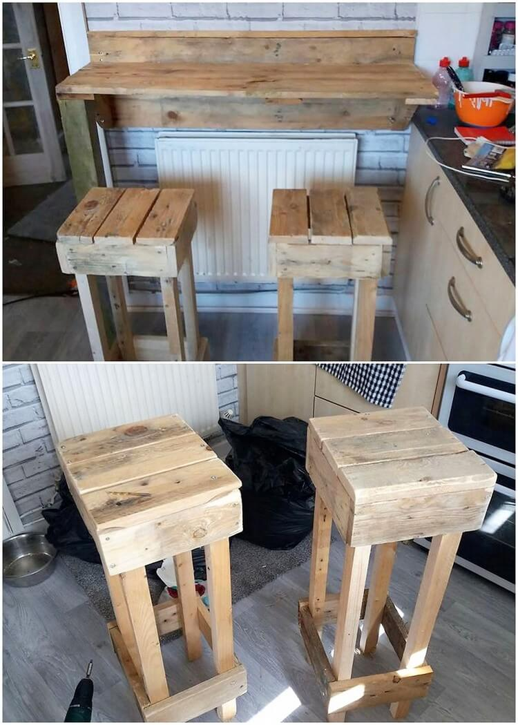 Pallet Shelf and Stools