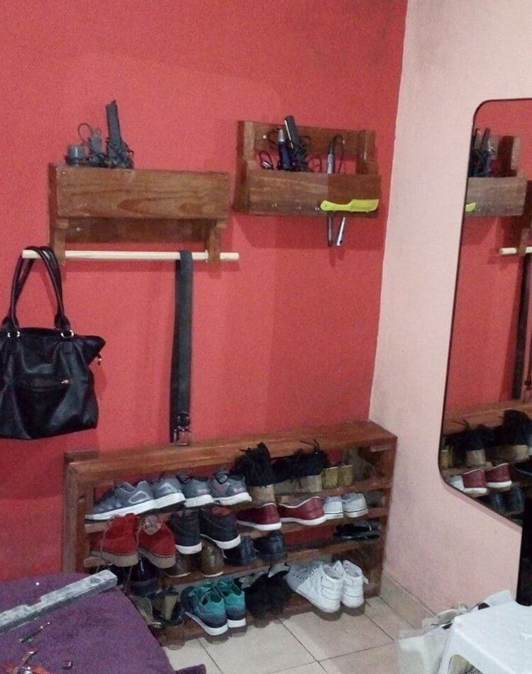 Pallet Shoe Rack and Wall Shelves