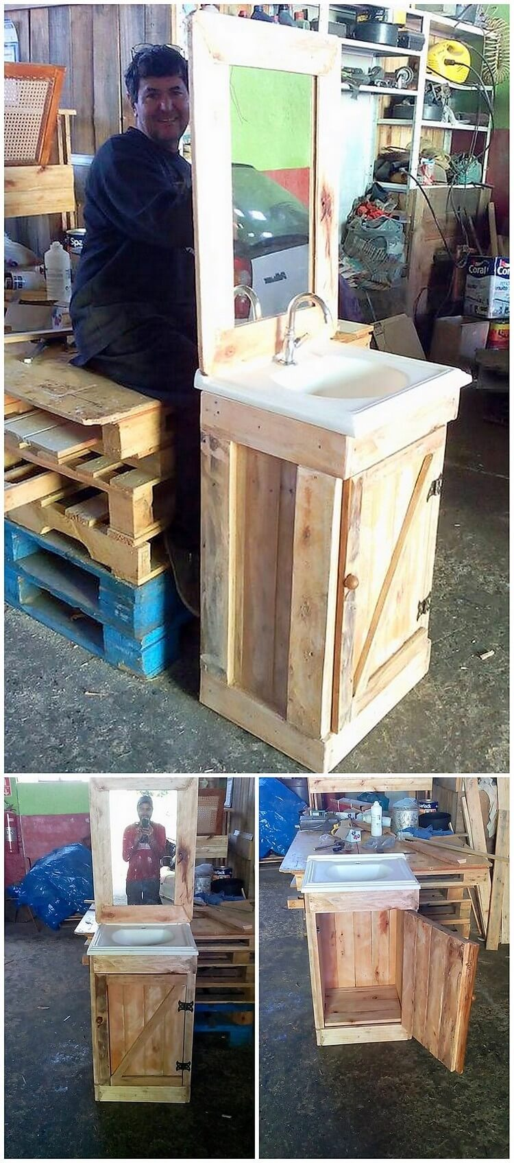 Pallet Sink with Cabinet and Vanity Mirror