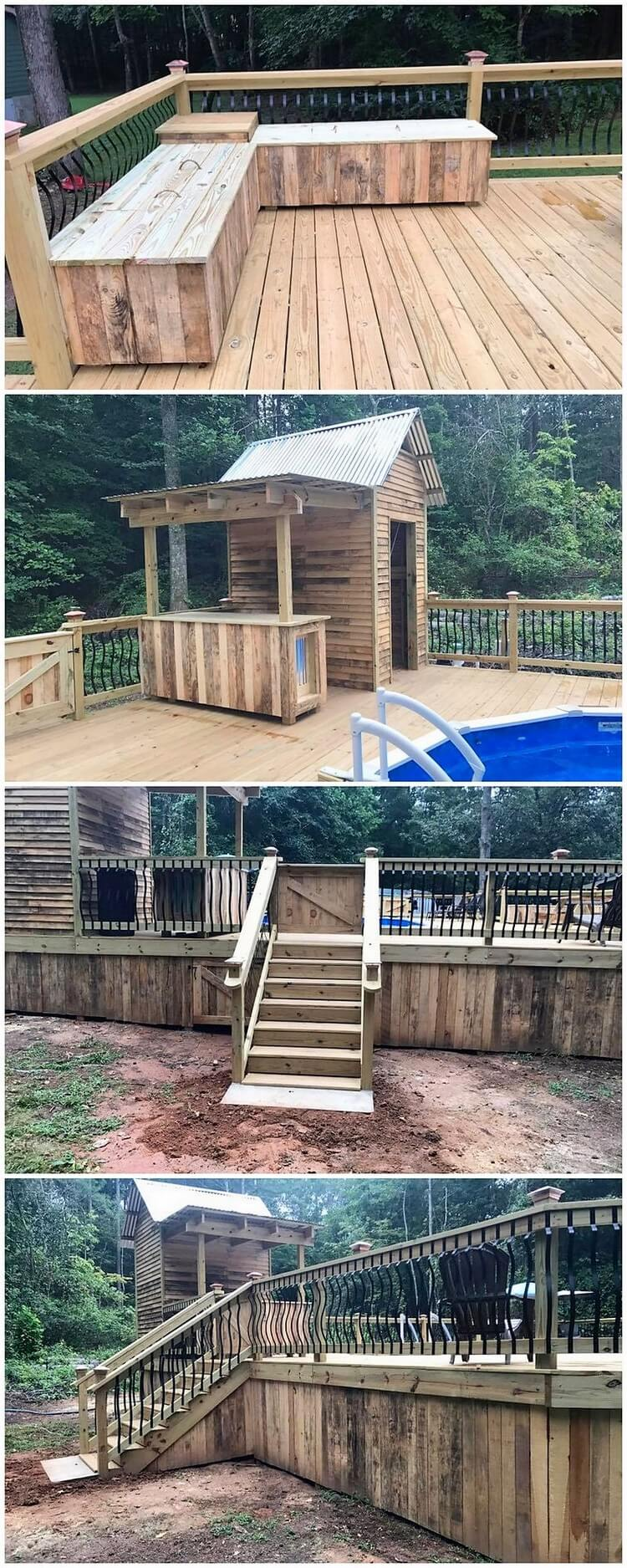 Pallet Swimming Pool Terrace with Furniture and Cabin