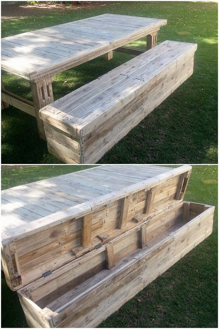 Pallet Table and Bench with Storage (2)