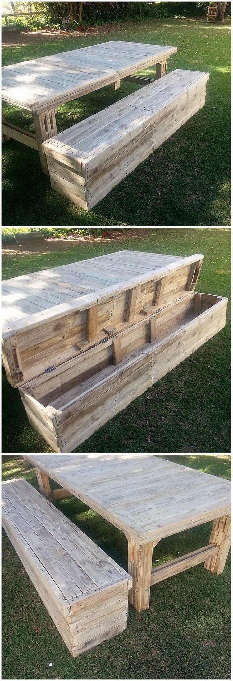 Pallet Table and Bench with Storage