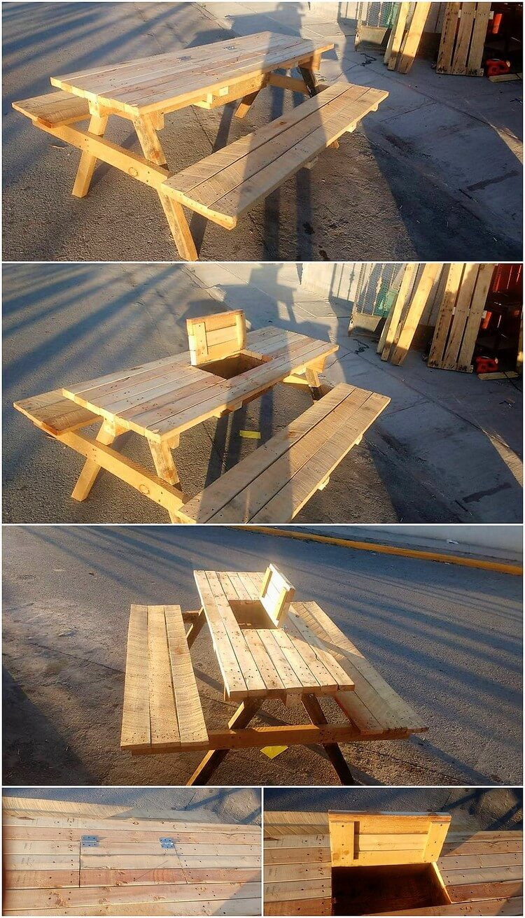 Pallet Table with Storage and Benches