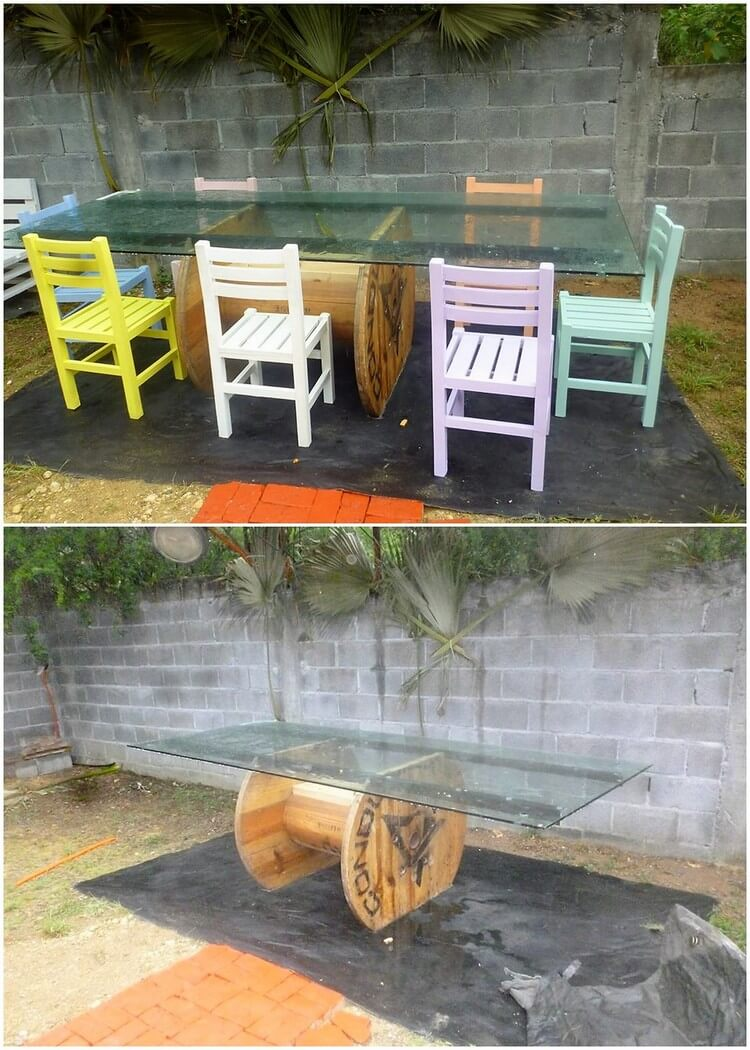 Pallet and Cable Reel Glass Top Table