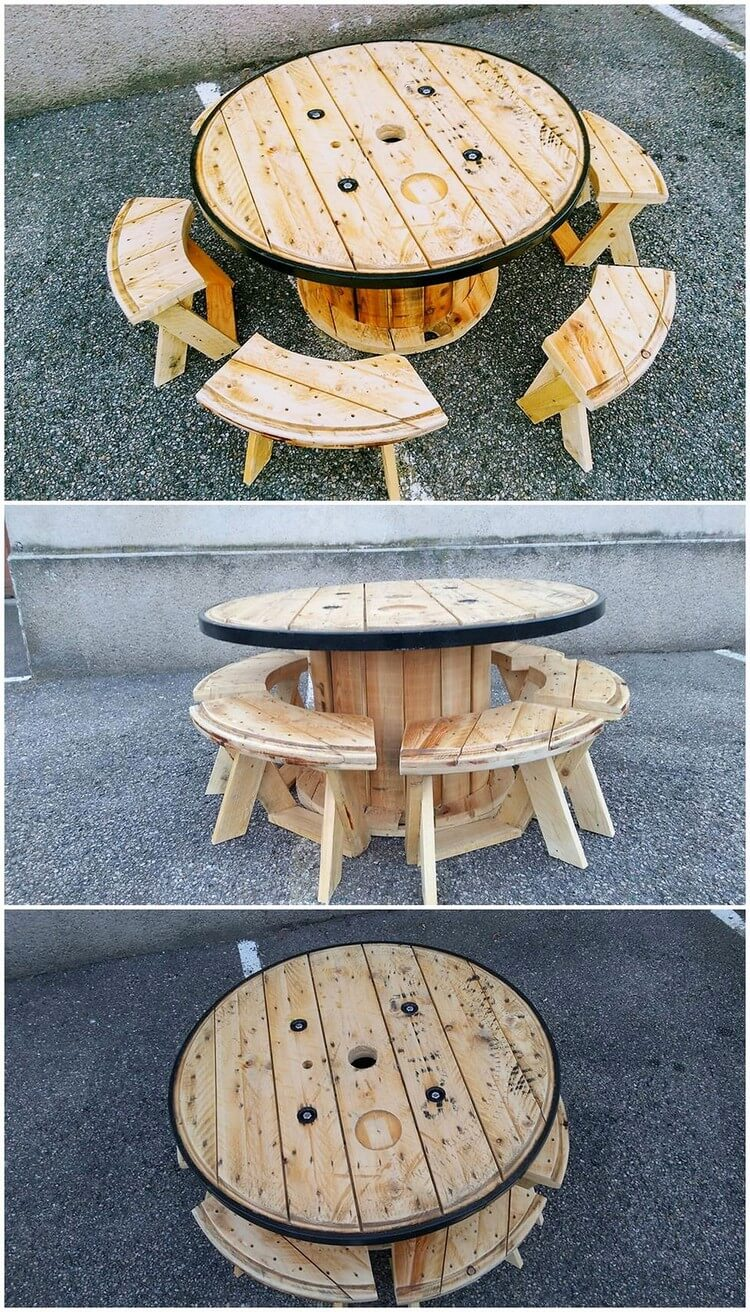 Pallet and Cable Reel Round Table and Benches
