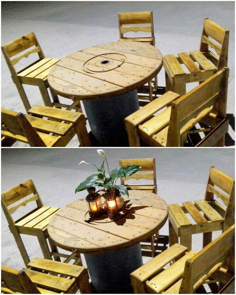 Pallet and Cable Reel Round Table and Chairs