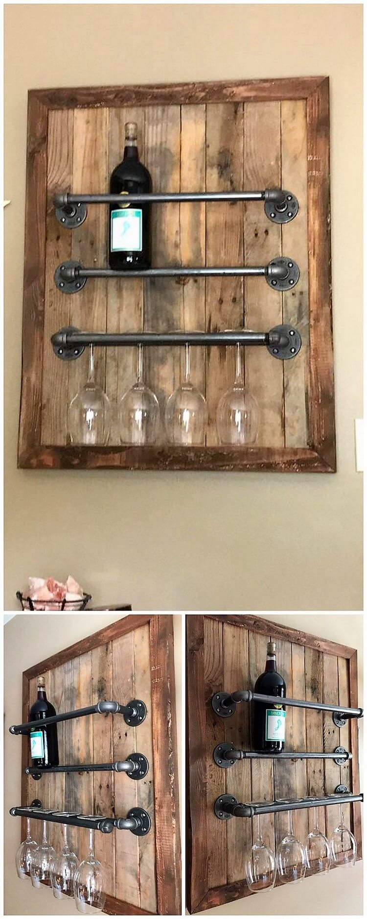 Pallet and Pipes Wine Rack