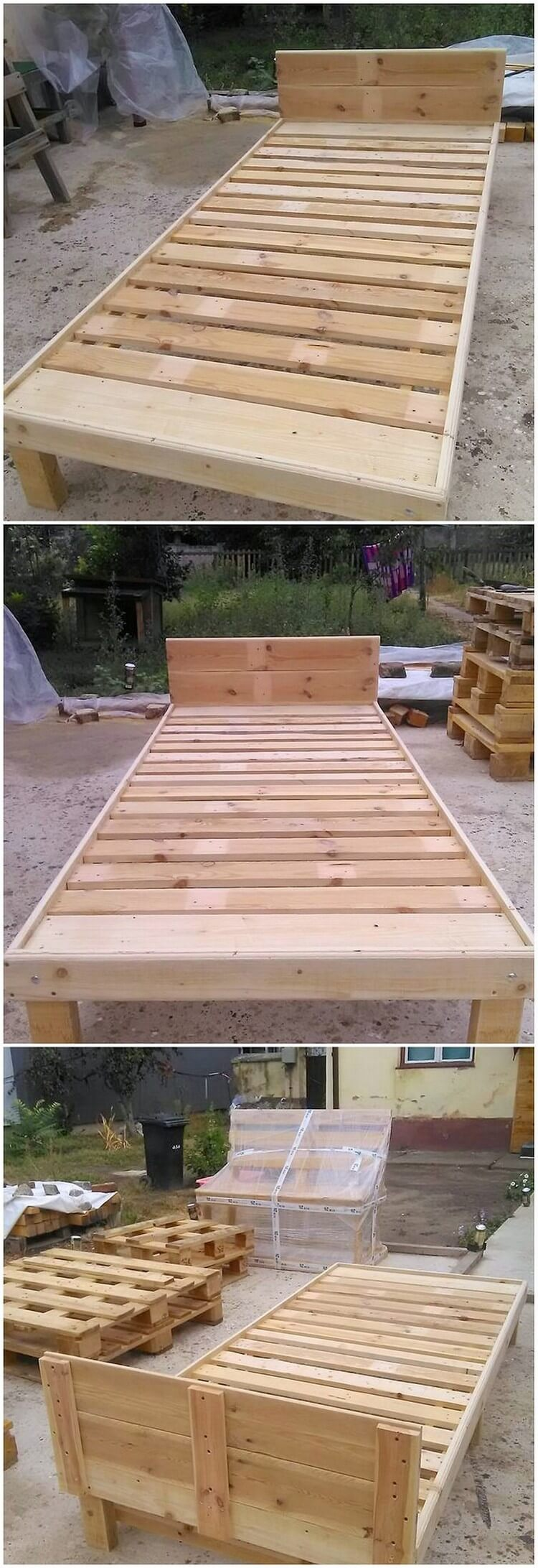Awesome diy wooden pallet ideas that can improve your home for Recycled pallet bed frame